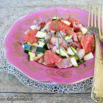 Ceviche di spada con pompelmo rosa e zucchine
