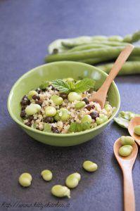 Insalata di bulgur, quinoa e fave