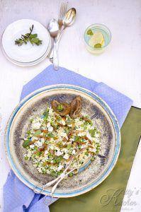 Fregola salad con bacon, baby peas and limoni confit