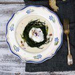Agretti, uovo 65° e crema al Parmigiano