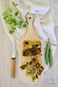 Pan brioche intrecciato al pesto e piselli